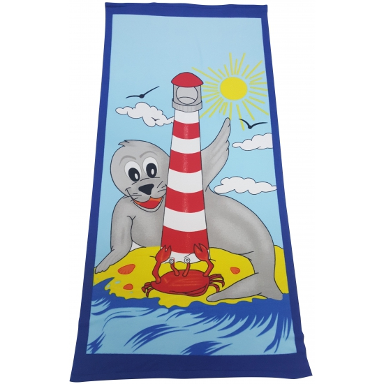 Image of Grote zeehond cartoon handdoek 70 x 150 cm