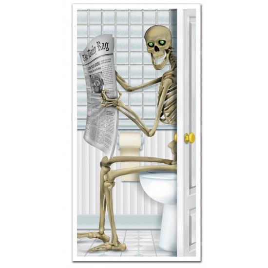 Image of Halloween deurposter skelet op toilet