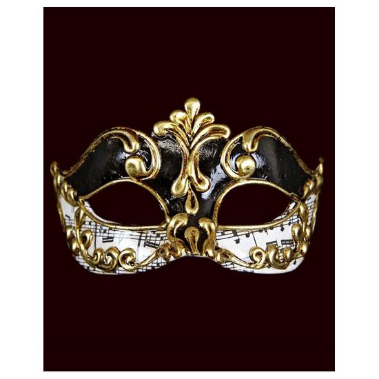 Image of Handgemaakt decoratie Venetiaans masker met muzieknoten zwart/wi