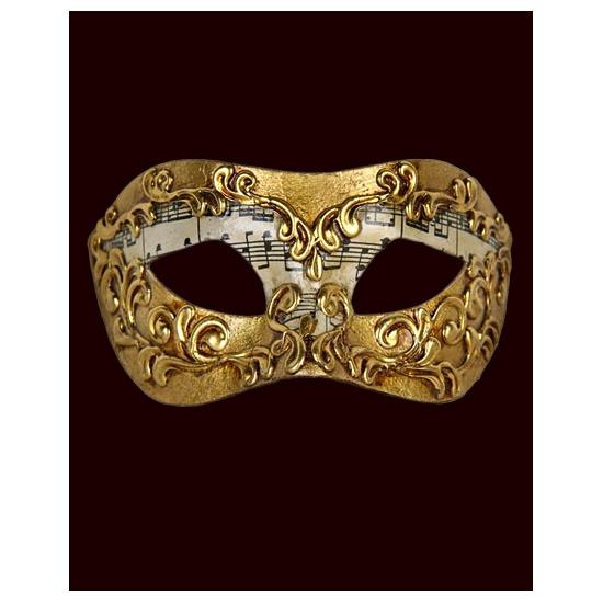 Image of Handgemaakt decoratie Venetiaans masker met muzieknoten