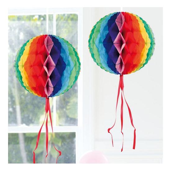 Image of Hangdecoratie gekleurde bol 30 cm