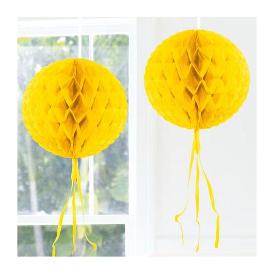 Image of Hangdecoratie gele bol 30 cm