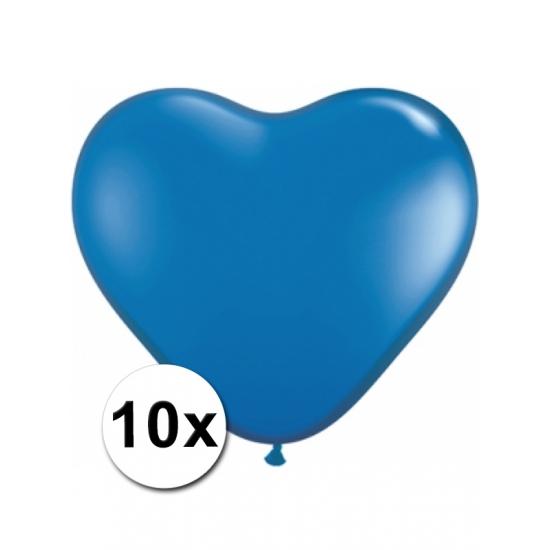 Image of Hartjes ballonnetjes blauw 10 stuks 15 cm