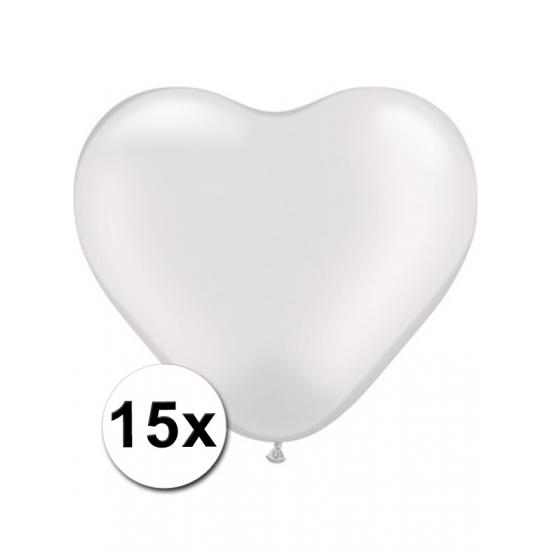 Image of Hartjes ballonnetjes wit 15 stuks 15 cm