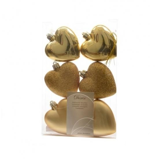Image of Hartjes kerstballen/hangers goud
