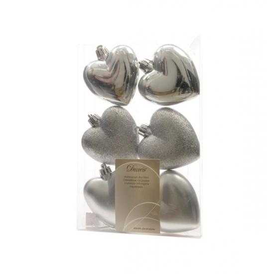 Image of Hartjes kerstballen/hangers zilver