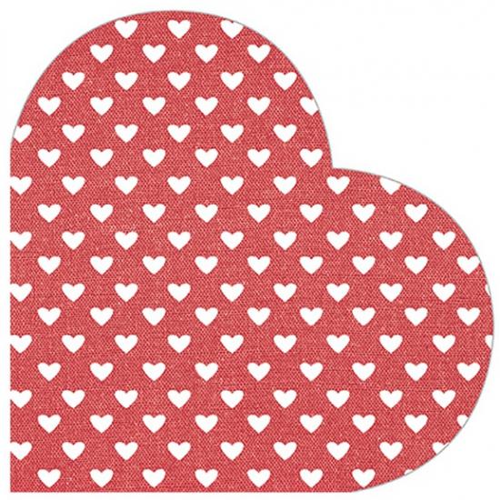 Image of Hartjes servetten rood met wit 12 stuks