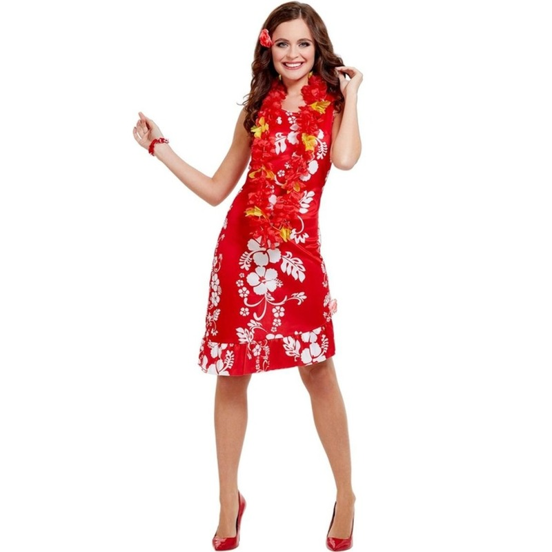 Image of Hawaii feestkleding dames in rood