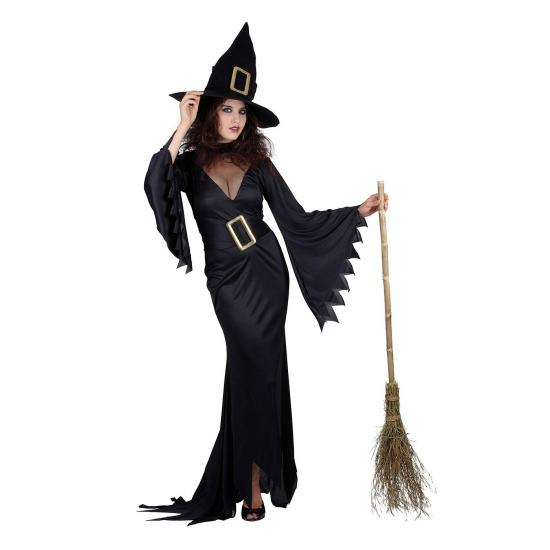Lange zwarte heksen jurk voor dames. getailleerde lange jurk met grote gesp om de taille. inclusief hoed....
