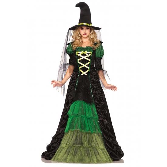 Image of Heksen kostuum groen met zwart