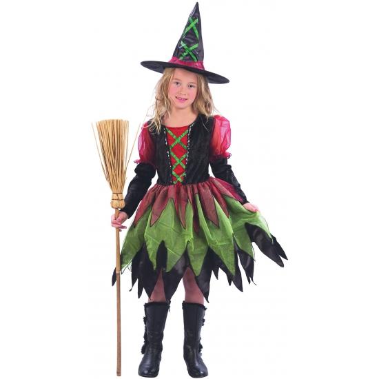 Luxe heksenjurk voor meisjes. een mooie heksenjurk voor meiden in rood en groen. de hoed wordt bij het ...