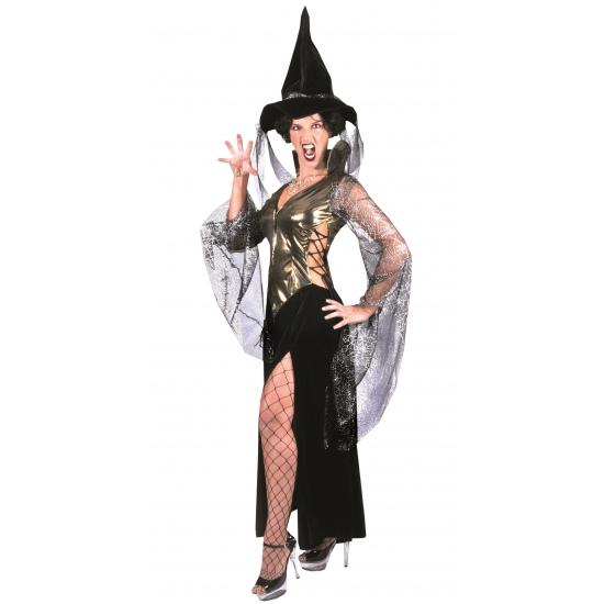 Image of Heksen kostuum zwart/goud met hoed