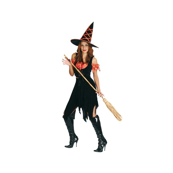 Image of Heksen kostuum zwart oranje