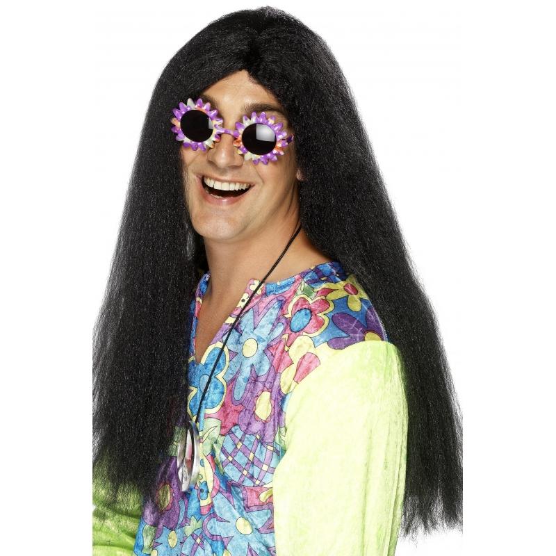 Image of Heren pruik met lang zwart haar