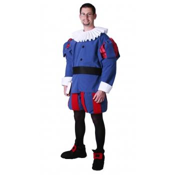 Middeleeuwse edelman kostuum blauw. blauw middeleeuws kostuum voor heren bestaande uit een pofbroek, jas met ...