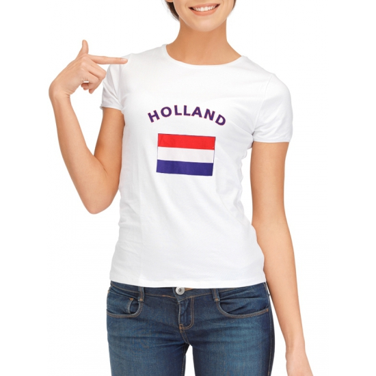 Holland t shirt met nederlandse vlag print voor dames