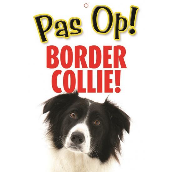 Image of Honden waakbord pas op Border Collie 21 x 15 cm