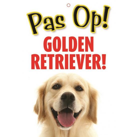 Image of Honden waakbord pas op Golden Retriever 21 x 15 cm
