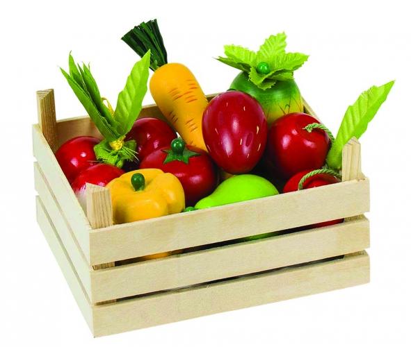 Image of Houten groenten en fruit in kist