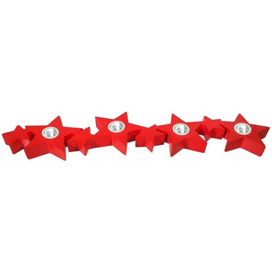 Image of Houten rode ster houder voor kaarsen 35 cm