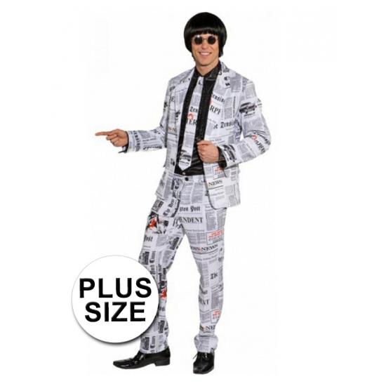 Krantenprint kostuum grote maat. dit kostuum bestaat uit een jas, broek en stropdas met krant print erop. het ...