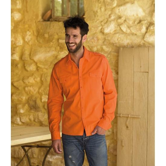 Image of Katoenen overhemd voor heren oranje