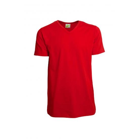 Image of Katoenen rood V-hals herenshirt 200 grams