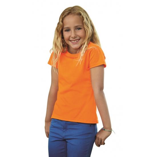 Katoenen shirtje oranje voor meiden