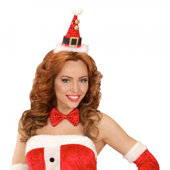 Image of Kerst diadeem mini kerst hoedje met strik