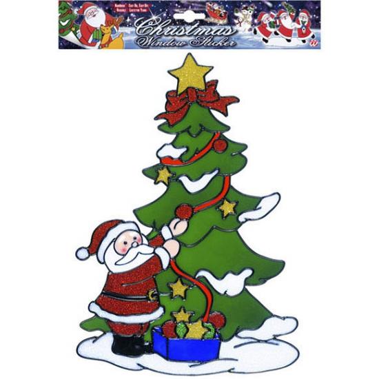 Image of Kerst raamsticker Kerstman bij kerstboom
