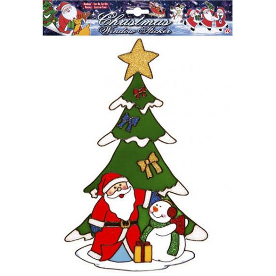 Image of Kerst raamsticker Kerstman en Sneeuwpop