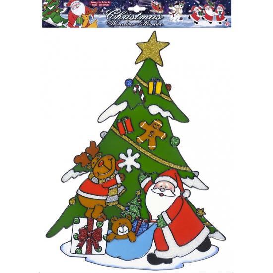 Image of Kerst raamsticker Kerstman met rendier