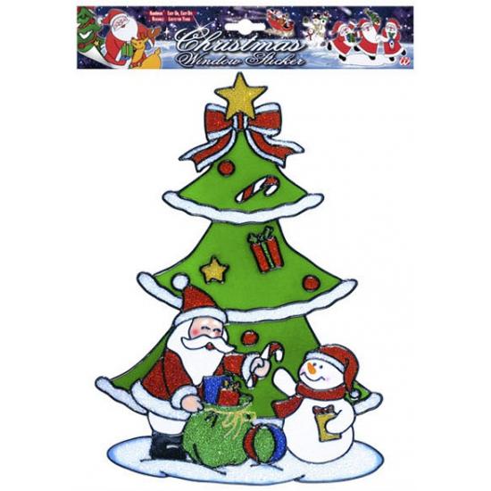 Image of Kerst raamsticker Sneeuwpop en Kerstman