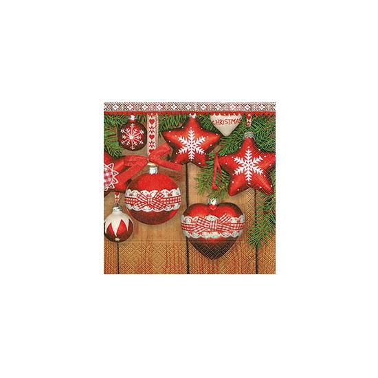 Image of Kerst servetten met kerst ornamenten