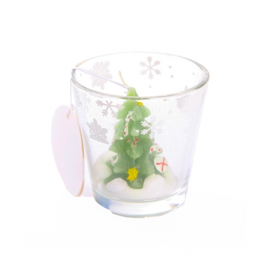 Image of Kerstboom kaarsje in glas 6,5 cm