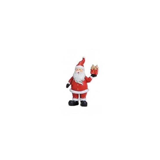 Image of Kerstman beeldje met kado 9 cm