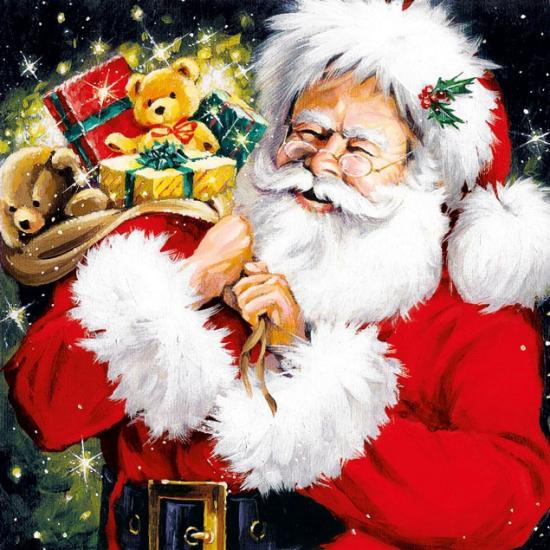 Kerstman met kado's servetten 20 stuks. papieren servetten bedrukt met plaatjes van de kerstman. de servetten ...