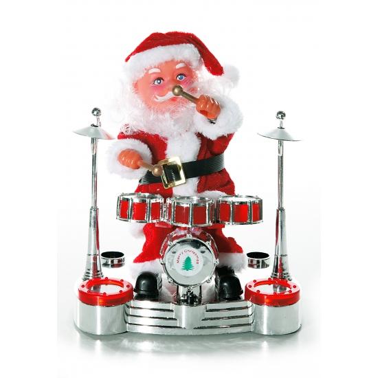 Kerstman op drumstel raamdecoratie 19 cm