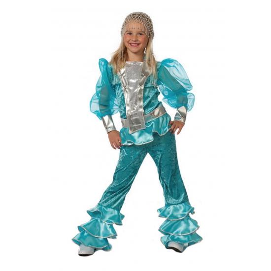 Blauw mama mia dancing queen kostuum voor meisjes. dit blauwe discopak bestaat uit de broek met blouse....