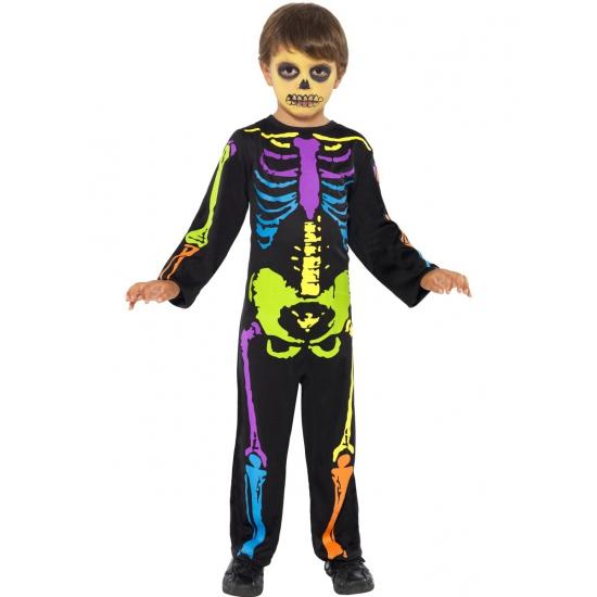 Neon skelet kostuum voor kinderen. skelet kostuum met botten in verschillende neon kleuren. het neon ...