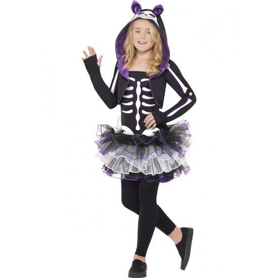 Skelet kat kostuum voor meisjes. paars met zwart katten skelet kostuum, inclusief jurk met cappouchon....