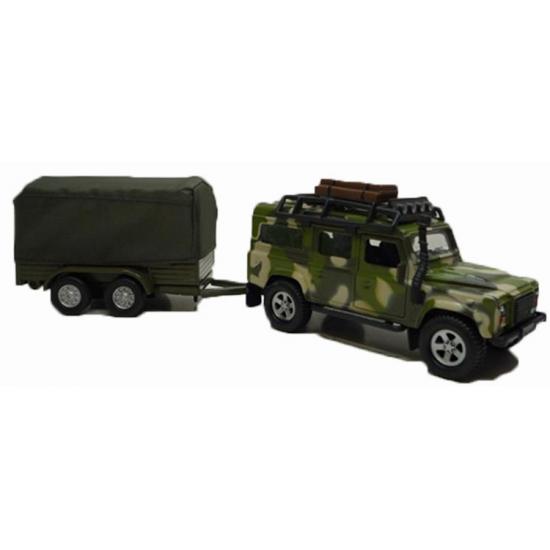 Image of Kinderspeelgoed groene legerauto Landrover met aanhangwagen