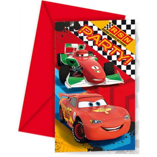 Cars thema uitnodigingen 6 stuks. deze feestelijke uitnodigingen met envelop met plaatjes uit de bekende ...