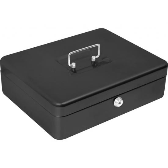 Klein zwart geldkluisje met cilinderslot 31 x 23 cm