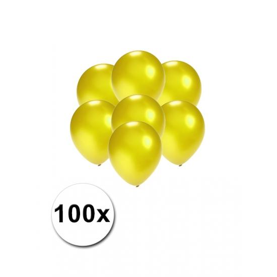 Image of Kleine ballonnen geel metallic 100 stuks