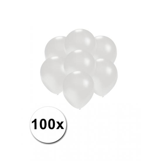 Image of Kleine ballonnen wit metallic 100 stuks