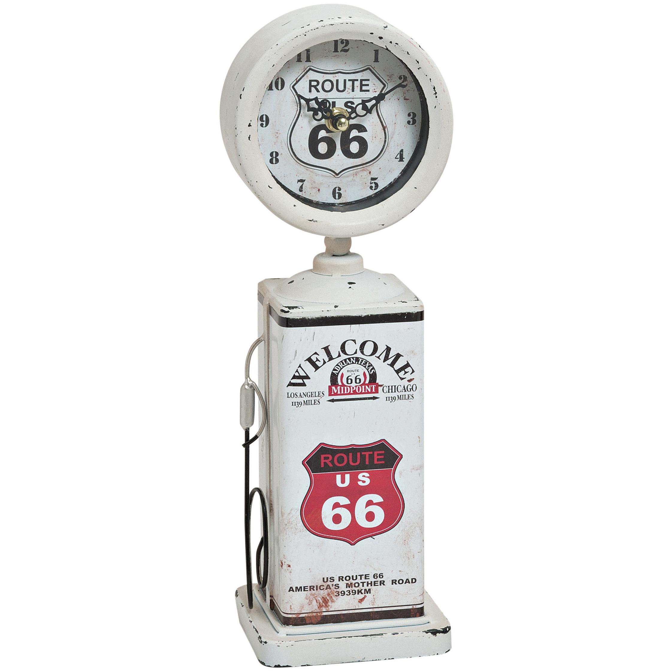 Klok Route 66 pomp wit 34 cm