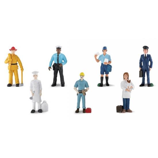 Image of Koker met plastic poppetjes in werkkleding