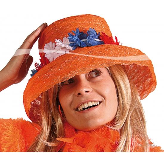Image of Koningsdag Oranje hoed met bloemen