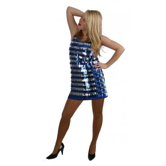 Image of Kort jurkje blauw met zilver glitter
